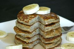 These banana pancakes are a great way to get a higher protein breakfast. They are even Paleo compliant being gluten free and grain free. I think they are sweet enough and still a treat even without syrup on top!