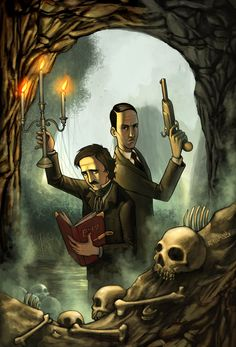 An illustration from the graphic novel, 'Poe and Phillips', which has H.P. Lovecraft and Edgar Allan Poe teaming up to investigate supernatural matters. Written by Jaime Collado, illustrated by Miguel Cedillo, and published by Arcana Studio.  http://www.amazon.com/Poe-Phillips-Jaime-Collado/dp/1897548397?ie=UTF8=thelovec-20_code=btl=213689=392969