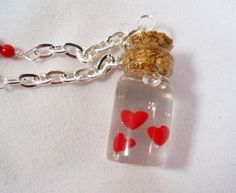 Bottle Hearts - Valentine Necklace - Polymer Clay, Pearl, and Coral