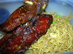 Chinese BBQ Pork Ribs with Fried Rice