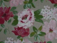 Spring Flowers Linen Pink Red White Curtain & Light Upholstery Fabric - The Millshop Online