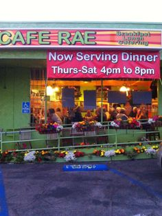 Hard to miss in North Beach, Cafe Rae on El Camino Real in San Clemente, serves up food as colorful as its lively setting!