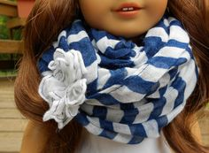 Navy and White Stripe Infinity Scarf for American by DolzDreamzzz, $4.00