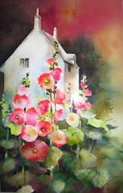 hollyhocks watercolour -