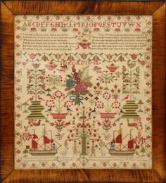 "Needlework on linen. Colorful sampler with poem, illustrated with trees, boats and figures. Marked ""Elizabeth Lawn 1818"" lower middle. 24""h x 21""w"