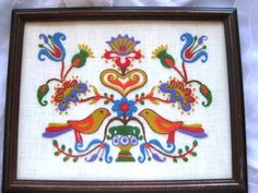 Beautiful Vintage Crewel Embroidered Multicolored Birds Flowers Wall Art Framed Great on Etsy, $45.00