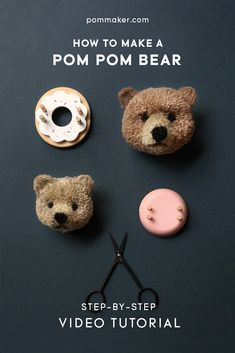 bear Learn how to make a fluffy teddy bear pom pom with Pom Maker Hobbies And Crafts, Crafts To Sell, Diy And Crafts, Craft Projects, Sewing Projects, Crafts For Kids, Arts And Crafts, Craft Ideas, Sewing Hacks