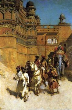 The Maharahaj of Gwalior Before His Palace c.1887 by American Painter Edwin Lord Weeks 1849-1903
