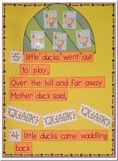 Interactive Chart, Sight Word Reader, and a Flip Little Ducks style! Kindergarten Literacy, Teaching Math, Preschool Activities, Maths, Sight Word Readers, Sight Words, Nursery Rhymes Songs, Finger Plays, Little Duck