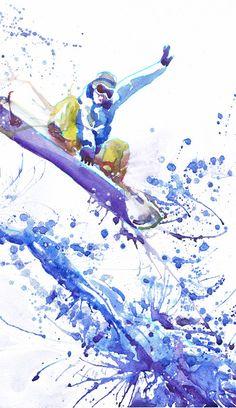 Snowboarder sports art print watercolor painting boys от ValrArt