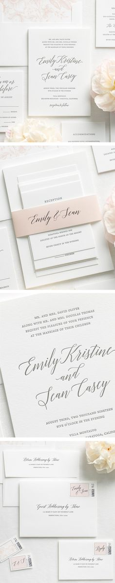 Letterpress wedding invitations styled to perfection, featuring elegant calligraphy, customizable envelope liners, ribbon and more. Make them your own with endless possibilities!