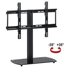 Features: ? Swivel and adjustable TV stand made of high quality iron and tempered glass, available in black finish ? Adjustable VESA bracket to perfect width, ...
