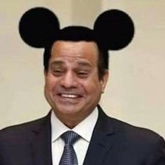 'Inappropriate': Egyptian Amr Nohan, 22, was jailed after posting this image of the Egyptian President Abdel Fattah El Sisi with Mickey Mouse ears photo-shopped in, along with other anti-establishment messages. It was deemed 'inappropriate' behaviour for a member of the armed forces