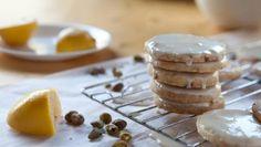 Lemon-glazed pistachio shortbread cookies