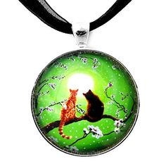 Orange Tabby Black Cats Pendant Necklace Green Zen Moon Sakura Cherry Blossoms Handmade Jewelry Art by Laura Milnor Iverson -- Awesome products selected by Anna Churchill