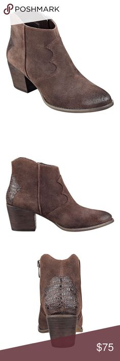 """Marc Fisher Stefani suede bootie size 7.5 New Marc Fisher Stefani suede bootie size 7.5. New in box. Leather suede upper. Stitched leather detail on back. Side zipper closure. Heel height 2.32"""". Color is dark brown suede. Marc Fisher Shoes Ankle Boots & Booties"""
