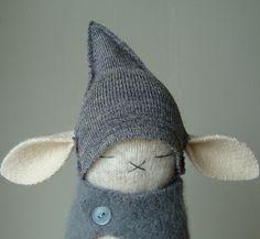 Oatmeal Lambswool Bunny In Gray Get Up van FierceBunnies op Etsy