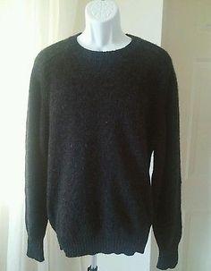 Lands End 100% Shetland Wool Mens Sweater Med M Charcoal Gray Crew Neck UK