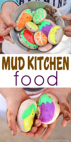 Make pretend food for your kid's mud kitchen using stones- brilliant!
