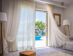 Bedroom Villa in Stelida area in Naxos! Proud member of Naxos Premium Montana, Swimming Pools, Villa, Curtains, Luxury, Bedroom, Home Decor, Insulated Curtains, Room