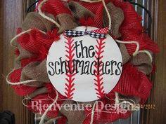For next baseball season - Personalized Baseball Mesh Wreath. $67.00, via Etsy - Bienvenue Designs.