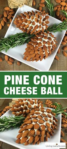 Pine Cone Cheese Ball Appetizer with Almonds. Fun and Easy Christmas Party Appetizer for the holiday season. Delicious fresh dill cheese ball recipe by LivingLocurto.com