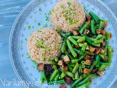 Zelené fazolky recept Tempeh, Green Beans, Vegetables, Food, Bulgur, Essen, Vegetable Recipes, Meals, Yemek