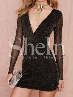 Vestido manga larga cuello V entallado -negro 13.57
