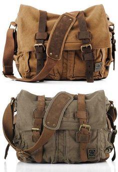 Canvas Leather Messenger Bag Crossbody Bag Shoulder Bag Laptop Bag