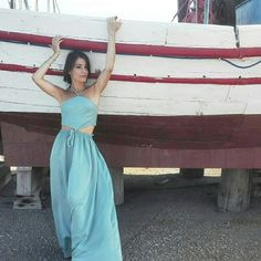 Summer maxi dress light blue turquoise island style grecian chic Instagram @marthakoub