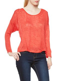 Rainbow Shops Long Sleeve Burnout Top with Flyaway Back $3.99