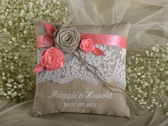Lace Linen Wedding Pillow, Coral  Ring Bearer Pillow Embroidery Names, shabby chic natural linen