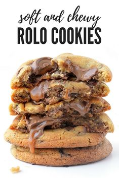These buttery Rolo Cookies are AMAZING! Soft and chewy and loaded with chocolate - hands down my favourite cookie recipe! Recipe from sweetestmenu.com #rolo #chocolate #cookies #caramel #cookiebarrecipeshands