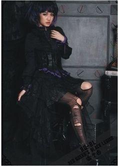 RQ-BL-Rock-Tuell-Gothic-Lolita-Steampunk-Visual-Kei-Punk-Black-Skirt-Tulle-21089
