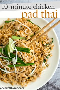 No more takeout when you can make flavourful, restaurant-style, authentic chicken Pad Thai at home in just 10 minutes. It's sweet, savoury, sour and nutty. Easy Thai Recipes, Asian Recipes, Dinner Recipes, Healthy Recipes, Ethnic Recipes, Asian Foods, Healthy Breakfasts, Noodle Recipes, Healthy Snacks