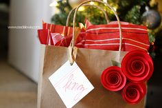 Pretty paper roses for wrapping