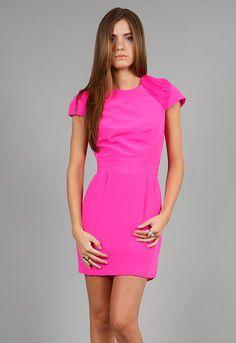 Naven Chiffon Shoulder Party Dress in Pop Pink