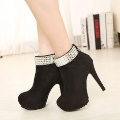 Magnificent Pure Color Metal Fasteners Stiletto Heels Women's Boot