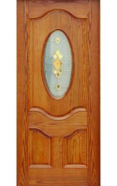 Esta puerta en madera noble de color claro y decorada en cristal para el dormitorio.