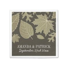 Country Rustic Burlap Fall Leaves Wedding Napkins