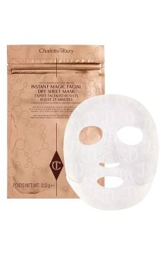 NEW! Charlotte Tilbury Instant Magic Facial Dry Sheet Mask What it does: This sheet mask has a clinically proven five-skin solution IQ that reduces wrinkles, smoothes, brightens, lifts and hydrates exactly where your skin uniquely needs it the most for dramatic facial results now and in the future. It features a bio-mimetic vector delivery system, which allows for a prolonged release of actives, and powers them into the epidermis. The dry textile mask is imprinted with active ingredients…