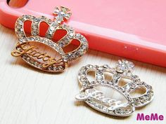 1 Pc Bling Rhinestone Alloy Juicy Crown Accessories Stud Charm Kawaii Cabochon Deco Den on Craft Phone Case DIY Deco AA1045