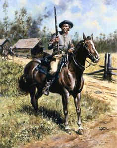 """""""The Texans' preference for mounted service exasperated the governor.  Most wanted to join the cavalry and refused to have anything to do with the infantry.  Clark observed that the Texans' disinclination to become foot soldiers was founded 'upon their peerless horsemanship.'""""  fm Between the Enemy and Texas:  Parsons's Texas Cavalry in the Civil War, p8, by Anne J. Bailey.  (pin is 8th Texas Cavalry 1862 By Don Troiani)"""