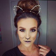 Gatinho Looks Halloween, Diy Halloween, Cat Halloween Makeup, Halloween Costumes For Work, Cat Costumes, Costumes For Women, Woman Costumes, Cat Costume Makeup, Cat Face Makeup