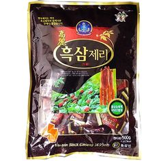 Korean Black Ginseng Jelly, Black Ginseng Extract, Size : 300g (Gram)  Red Ginseng Extract(from Korea) 0.6% Ginseng mix proportion : Red ginseng extract 100% (red ginseng body 60%, red ginseng root 40%) Imported refined sugar 15%, imported starch syrup 78.345% Starch 4.550%, Red Ginseng Flavor 0.060%, Margarine(soy bean) 0.045%, Agar 1%