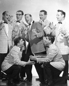 1955: Bill Haley and His Comets, Kneeling in front L-R: Al Rex, Johnny Grande, Back row L-R: Billy Williamson, Rudy Pompilli, Bill Haley, Ralph Jones, Franny Beecher in new york City, New York.