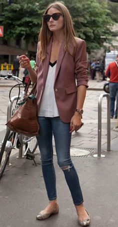 Olivia's everyday look completed with a simple blazer.