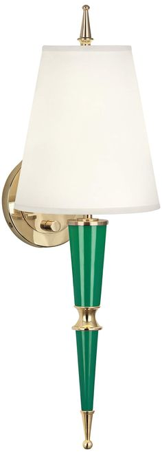 Versailles 23 And One Quarter Inchh Fondine Shade Emerald Lacquer Wall Lamp Wall Lights, Wall Lamps, Modern Wall Sconces, Gold Interior, Jonathan Adler, Saturated Color, Fabric Shades, Lamp Design, Versailles