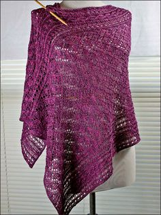 Amethyst Wrap Knitting Pattern Download from e-PatternsCentral.com -- Knit this delicate shoulder-warming rectangle out of your favorite fingering weight yarn.