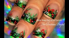 Christmas Holly with Bows and Snowflake Tips! Nail Art Design Tutorial